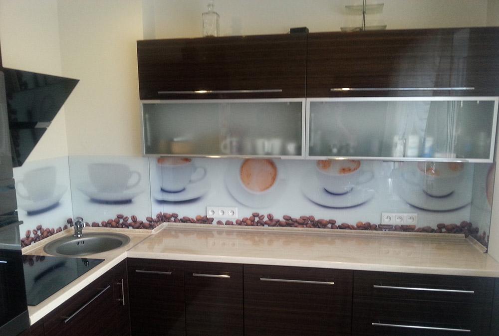 Panel szklany - filiżanki i kawa