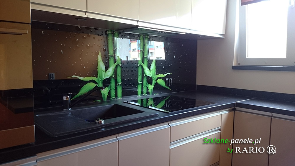 Panel szklany - bambusy