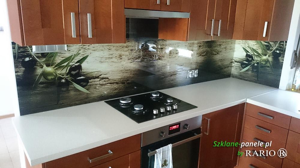 Panel szklany - drewno i oliwki