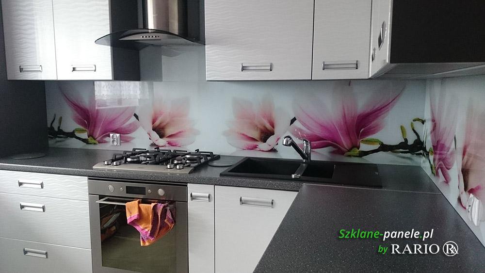 Panel szklany - magnolie
